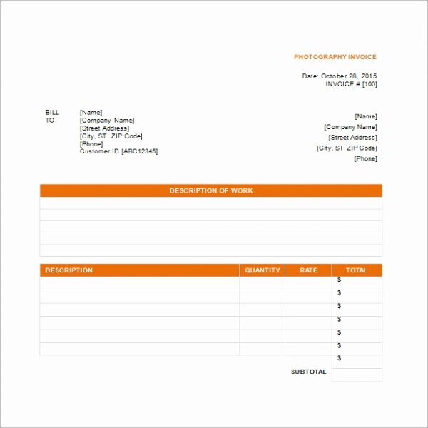 Photography Invoice Template Word Fresh Graphy Invoice Template