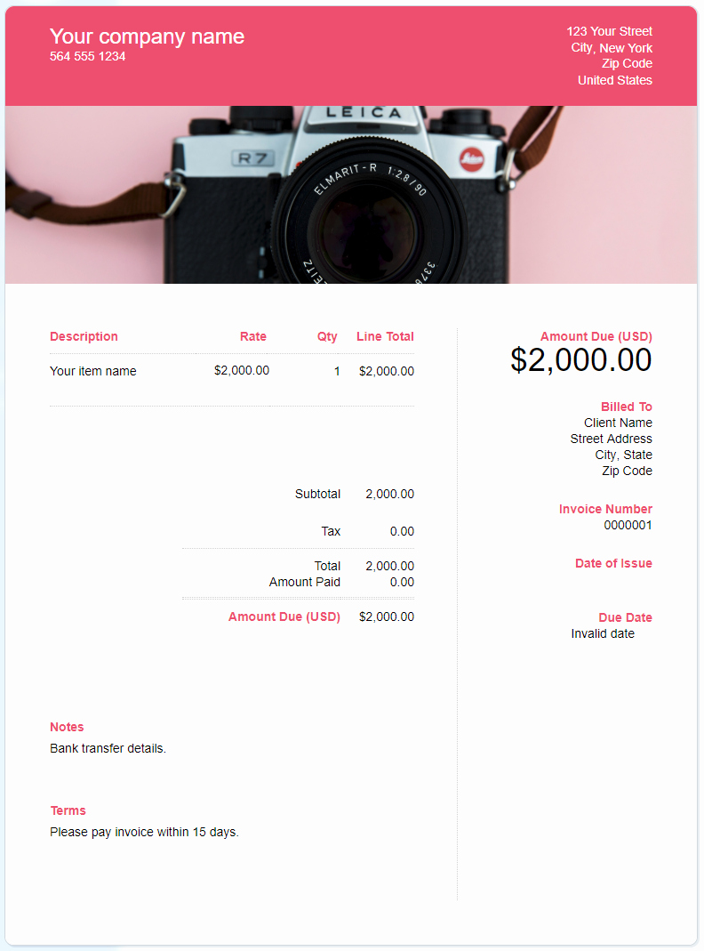 Photography Invoice Template Word Inspirational Free Graphy Invoice Template Download now