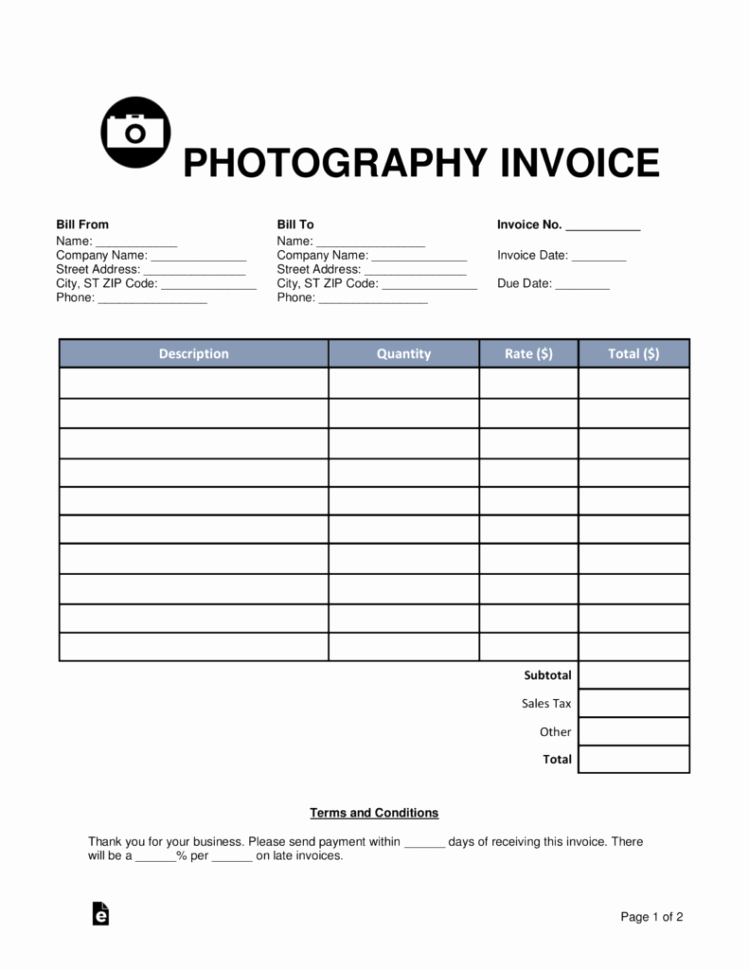 Photography Invoice Template Word Unique Free Graphy Invoice Template Word Pdf