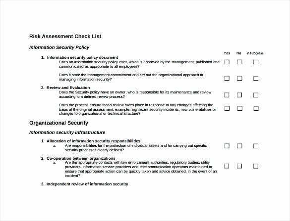 Physical Security assessment Report Template Inspirational Security Risk assessment Checklist Physical Survey
