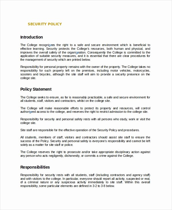 Physical Security Policy Template Elegant Policy Template 10 Free Word Pdf Document Downloads