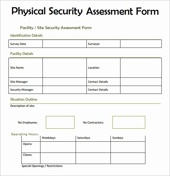 Physical Security Risk assessment Template Inspirational 7 Security assessment Samples Examples Templates
