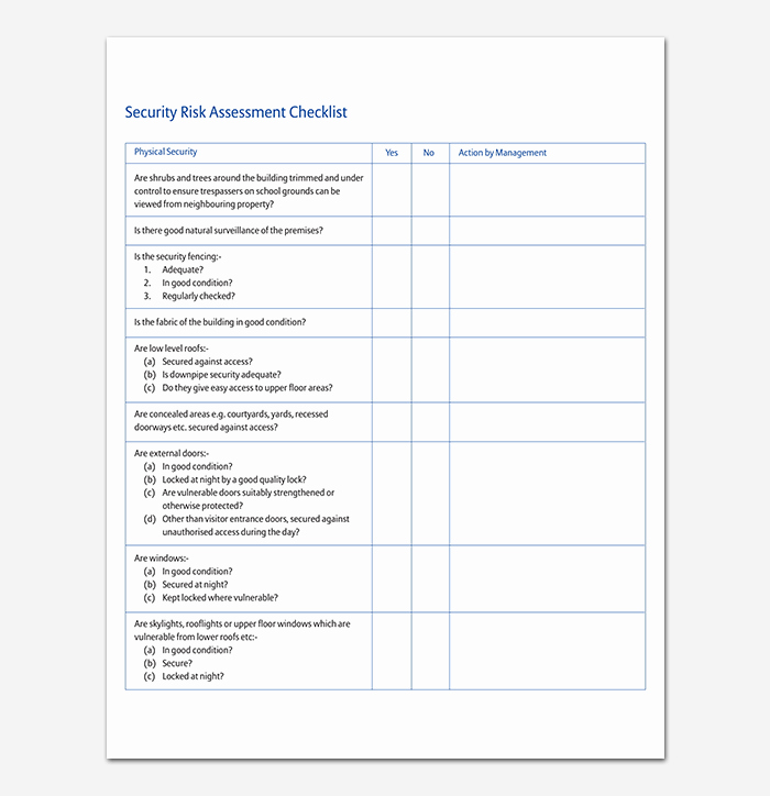 Physical Security Risk assessment Template Inspirational Security assessment Template 18 Word Excel & Pdf format