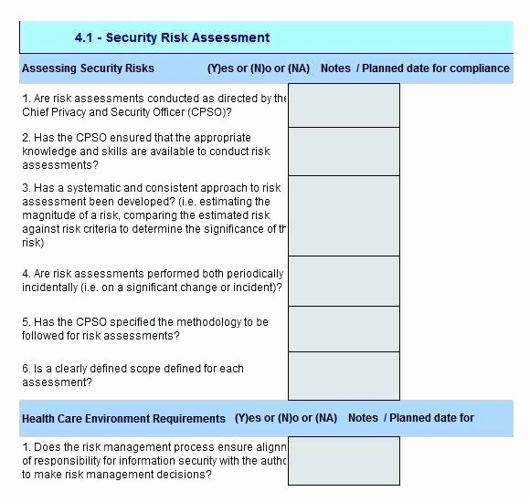 Physical Security Risk assessment Template Luxury Security Gap Analysis Template Risk Excel assessment