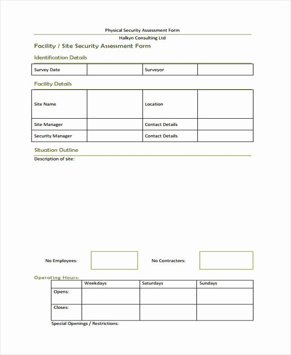 Physical Security Risk assessment Template Unique 26 Risk assessment form Templates