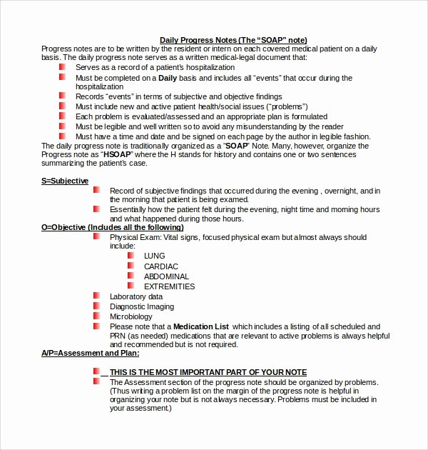 Physical therapy Daily Note Template Awesome 10 Daily Notes Templates
