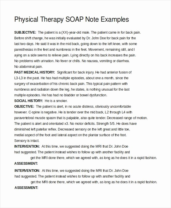 Physical therapy Daily Note Template Best Of 21 Note Template