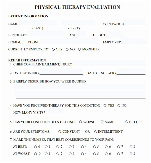 Physical therapy Daily Note Template Lovely 7 Sample Physical therapy Evaluation Templates to Download