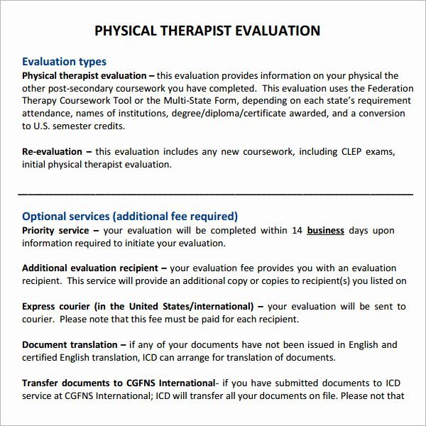 Physical therapy Daily Note Template New 7 Sample Physical therapy Evaluation Templates to Download