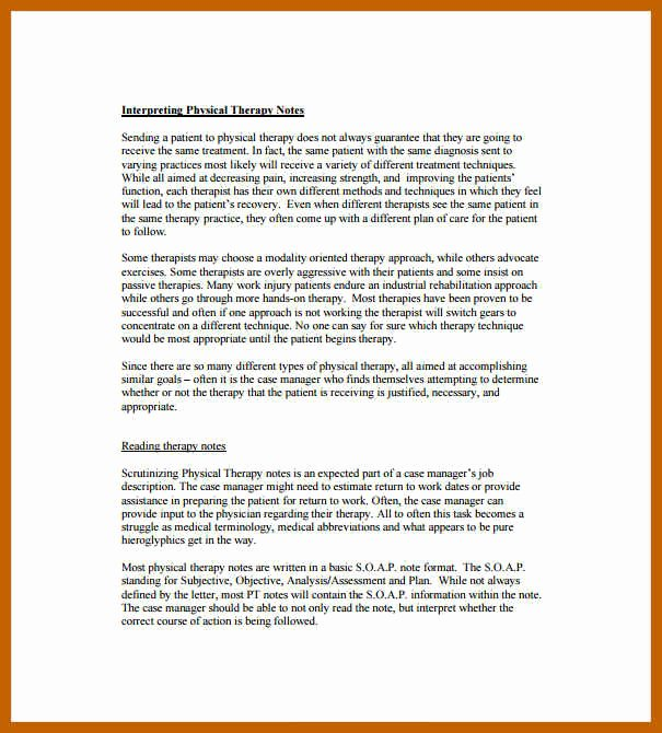 Physical therapy Daily Notes Template Best Of 10 11 therapy Note Templates