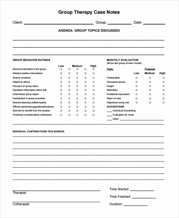 Physical therapy Progress Note Template Unique 6 therapy Notes Templates