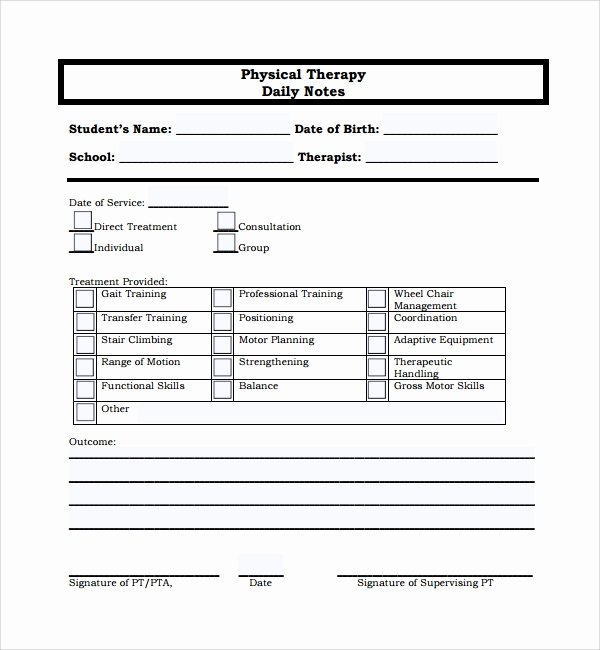 Physical therapy Progress Notes Template Awesome 10 Daily Notes Templates
