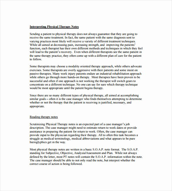 Physical therapy soap Note Template Beautiful soap Note Template – 9 Free Word Pdf format Download