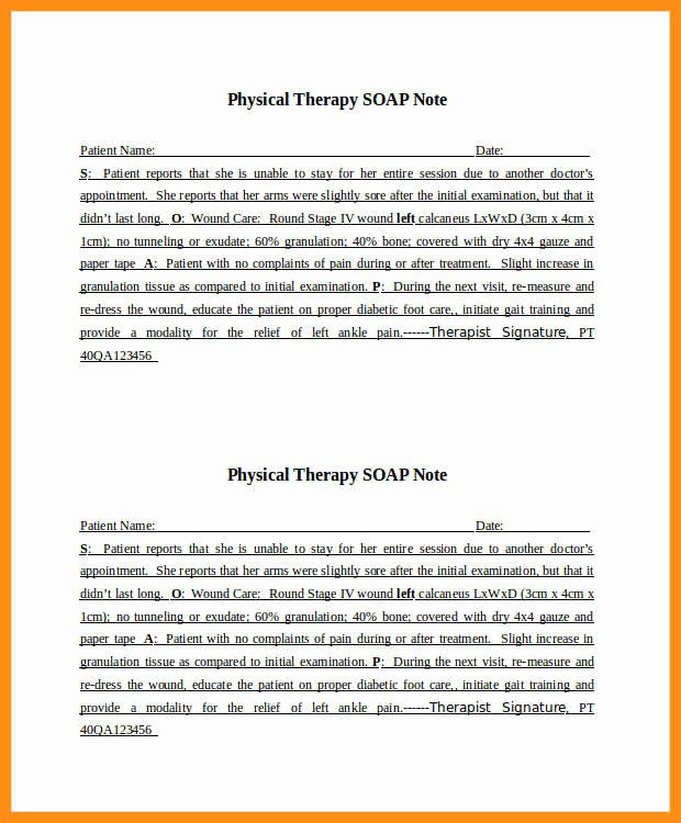 Physical therapy soap Note Template Best Of 7 8 Sample soap Notes for Physical therapy