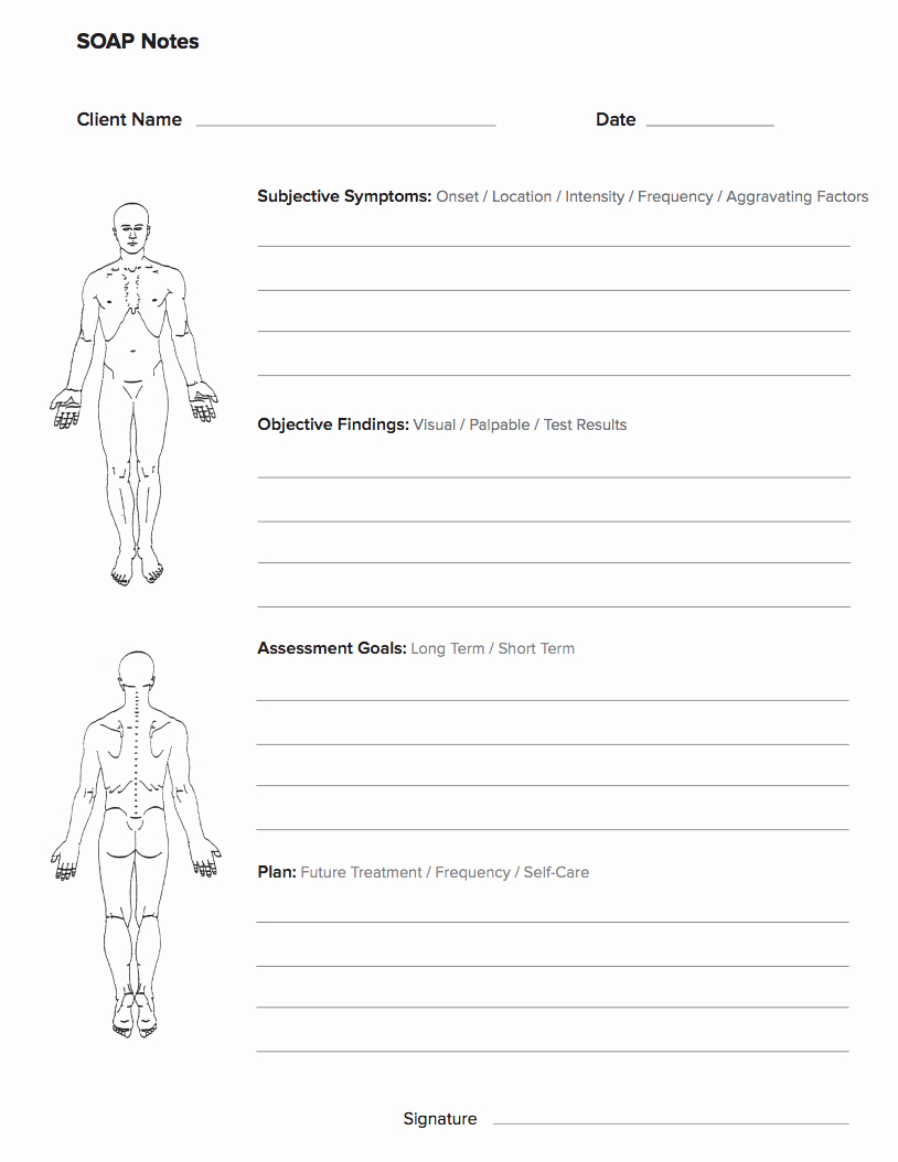 Physical therapy soap Note Template Best Of Free Massage soap Notes forms Massagebook