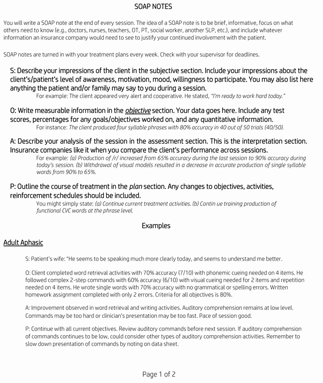 Physical therapy soap Note Template New soap Note Examples Learn to Write soap Notes