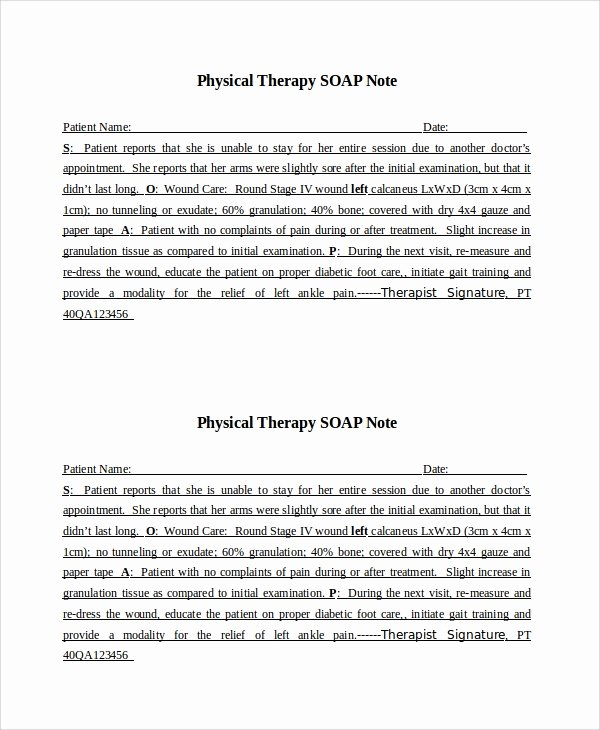 Physical therapy soap Note Template Unique 15 soap Note Examples Free Sample Example format