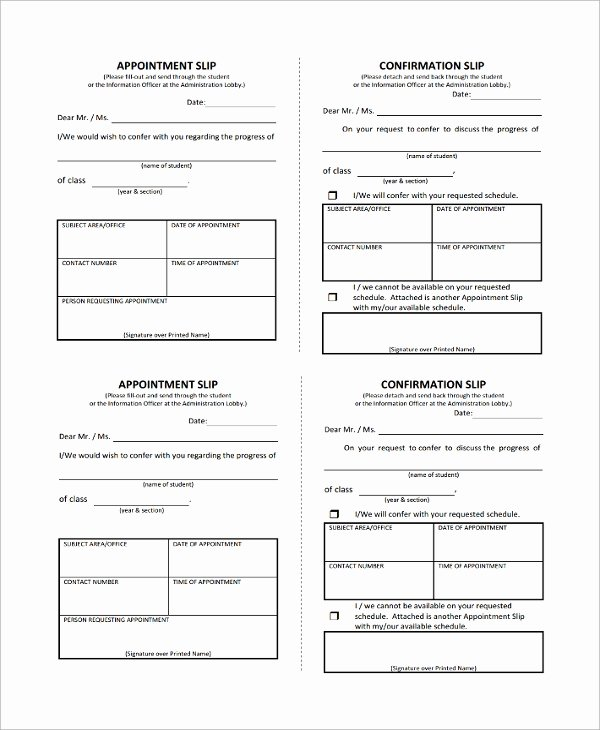 Physician Appointment Scheduling Template Beautiful 8 Appointment Slip Templates