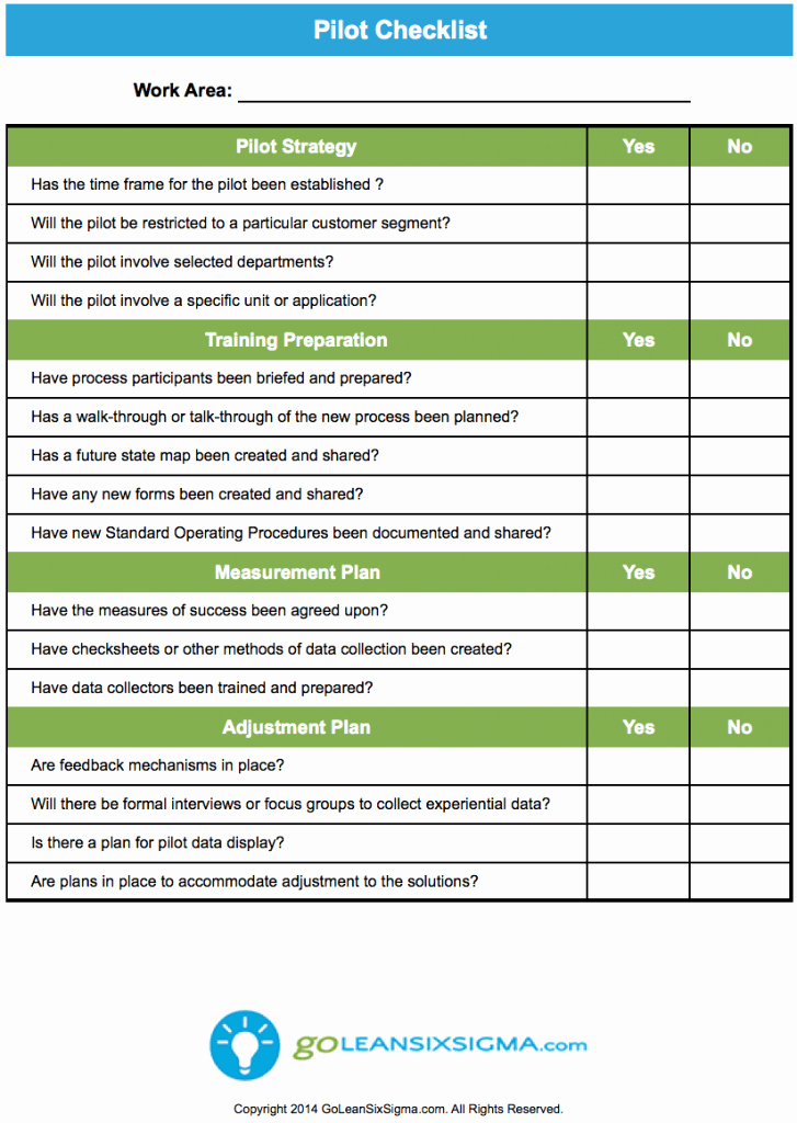 Pilot Project Plan Template Awesome Pilot Checklist Goleansixsigma