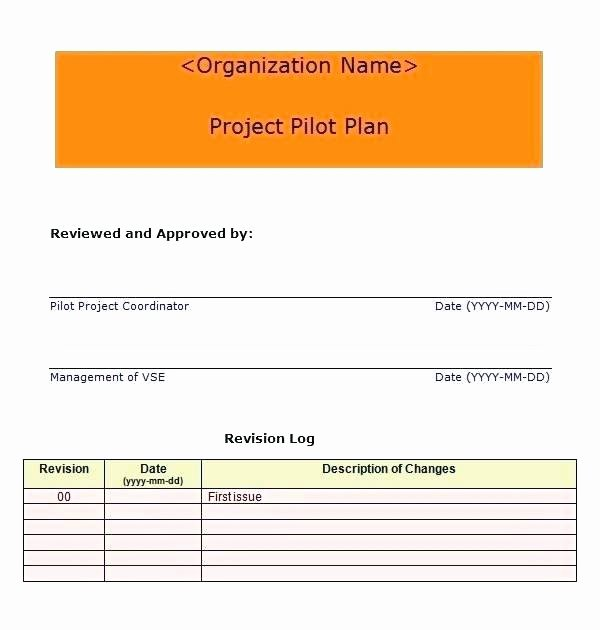 Pilot Project Plan Template Awesome Pilot Project Plan Template