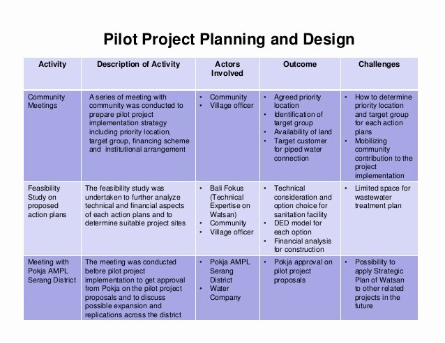 Pilot Project Plan Template Unique Integrated Pro Poor Water and Wastewater Management In