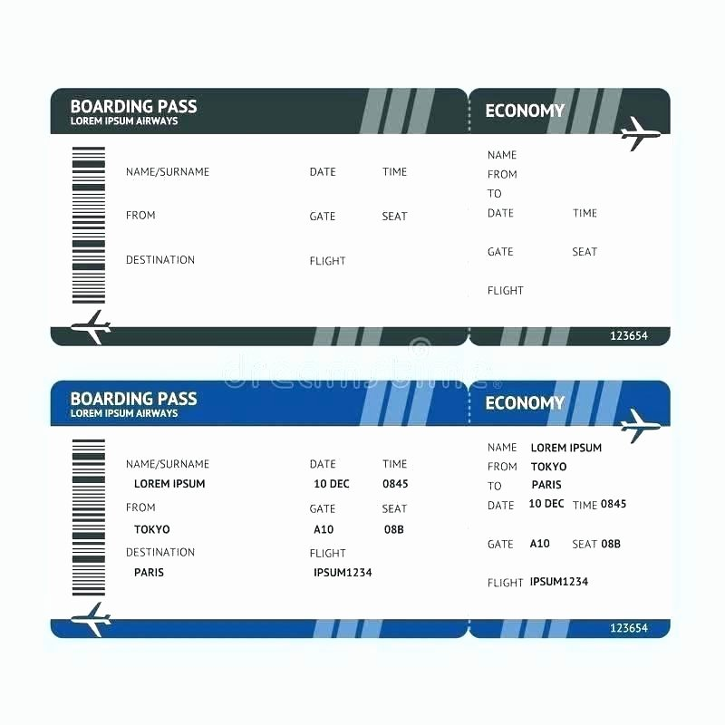 Plane Ticket Template Word Awesome Fake Airline Ticket Template Free Vector Plane Printable
