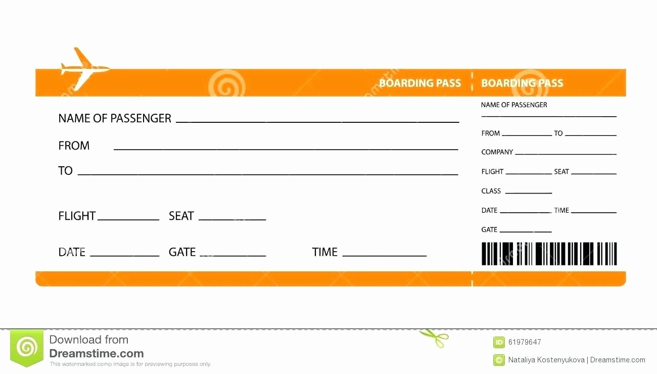 Plane Ticket Template Word Lovely Boarding Pass Template for Word
