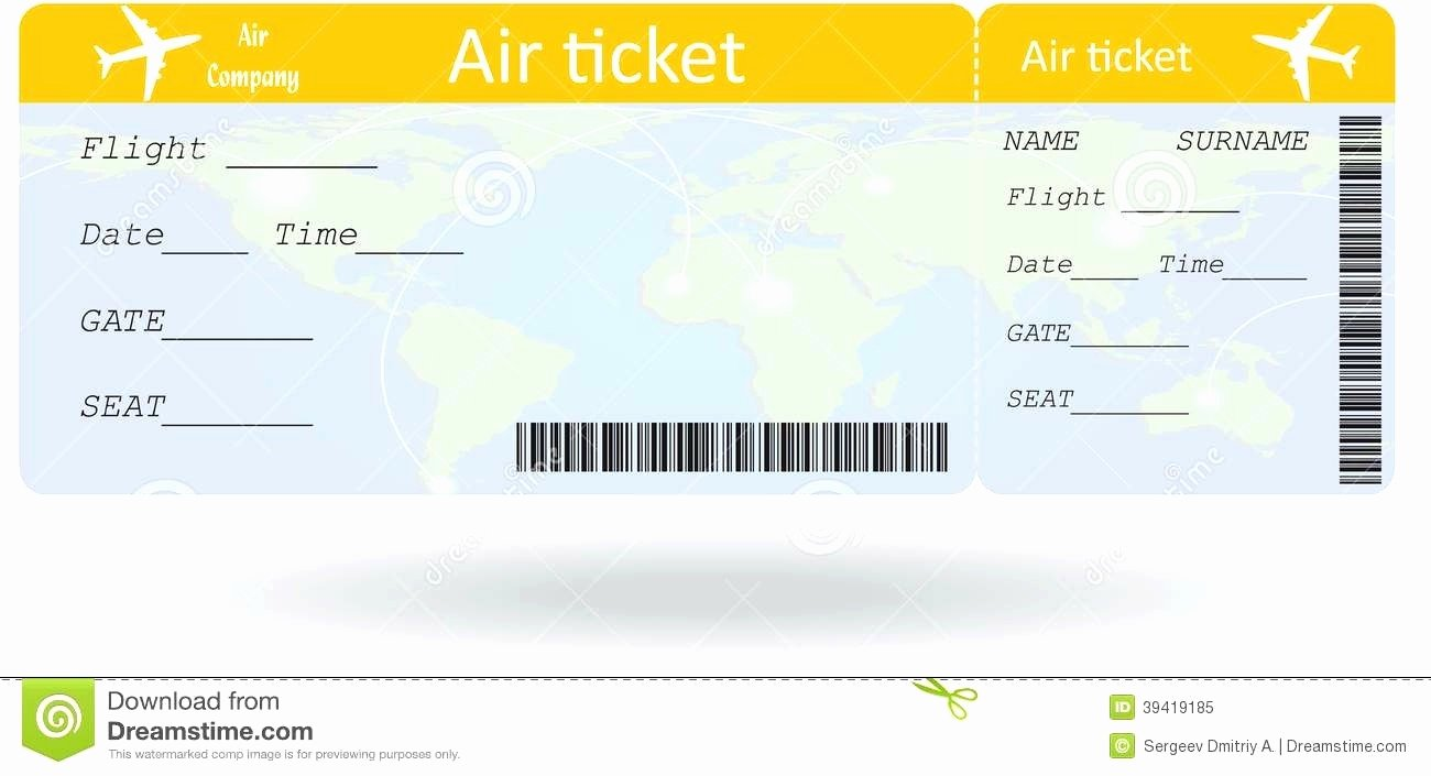 Plane Ticket Template Word New Airline Ticket Template