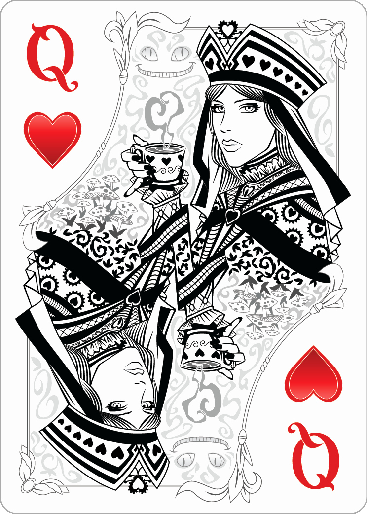 Playing Card Design Template Elegant Queen Hearts Design