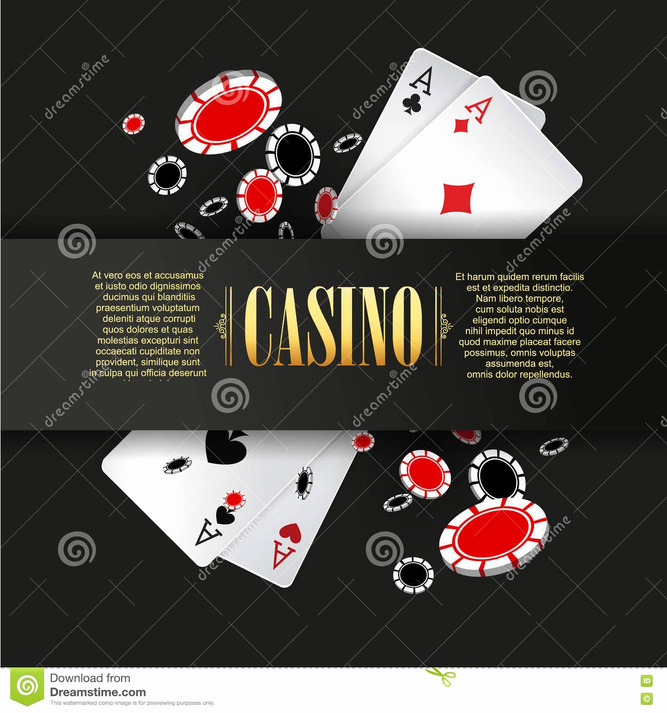 Playing Card Design Template Lovely Poster Banner Flyer for Casino Royalty Free Stock