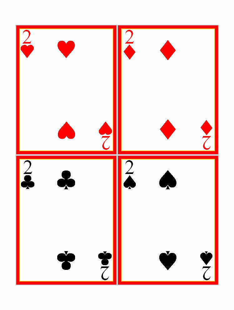 Playing Card Design Template New Twos