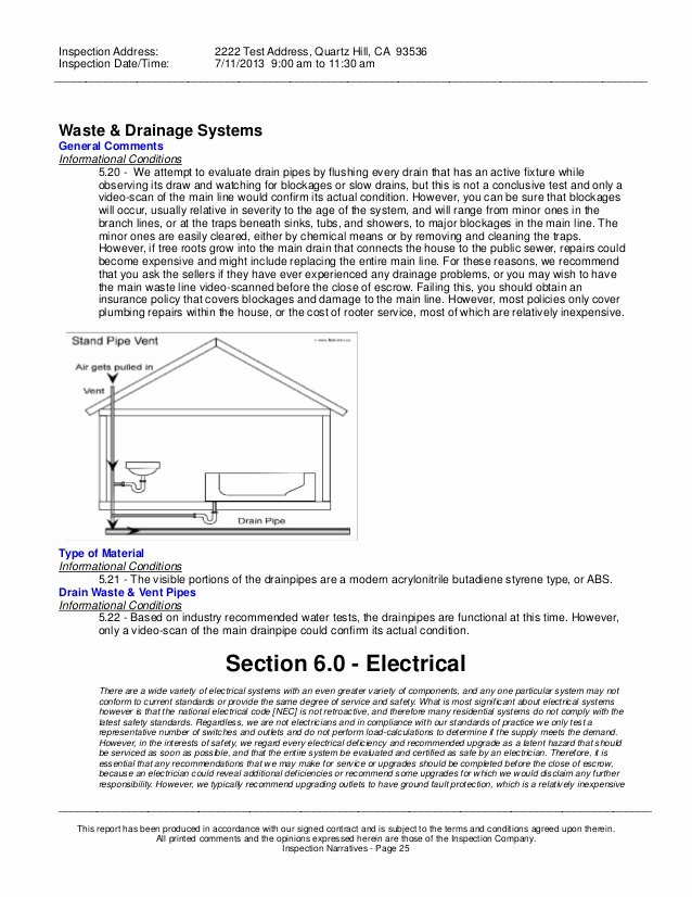 Plumbing Inspection Report Template Luxury Sample Home Inspection Report