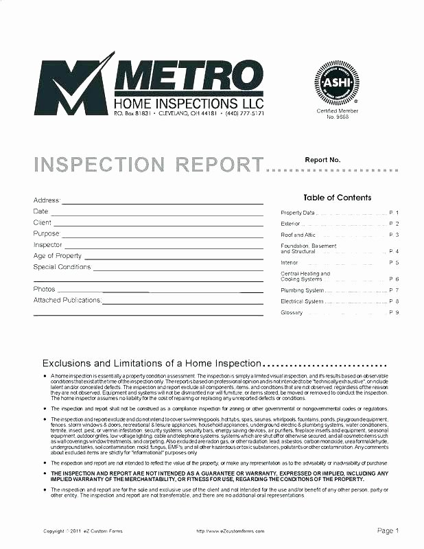 Plumbing Inspection Report Template Unique Plumbing Inspection Report Template Property Checklist
