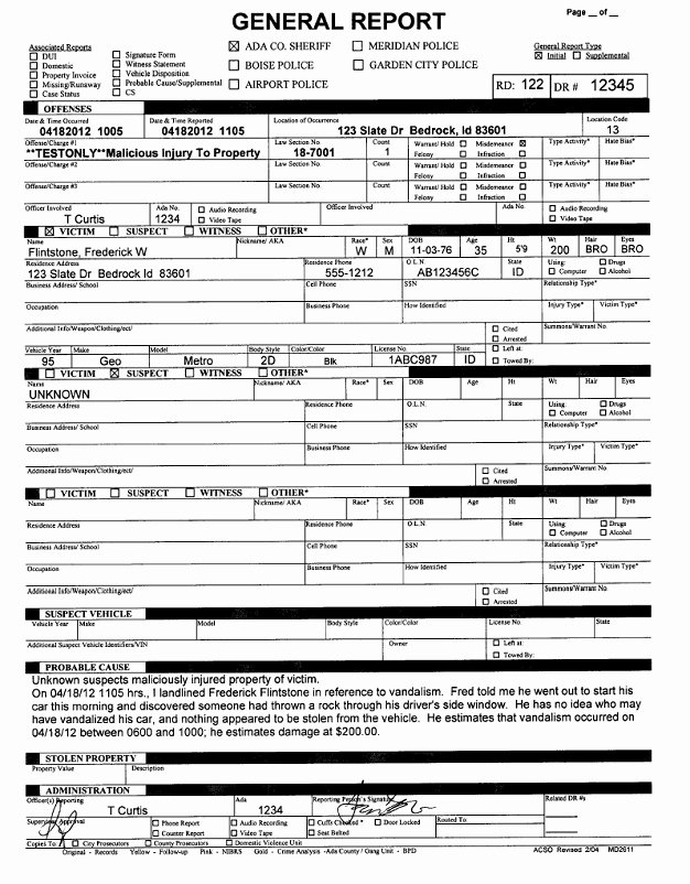 Police Report Template Pdf Awesome Police Report Template