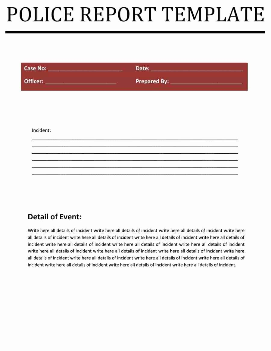 Police Report Template Pdf Awesome Police Report Templates 8 Free Blank Samples Template