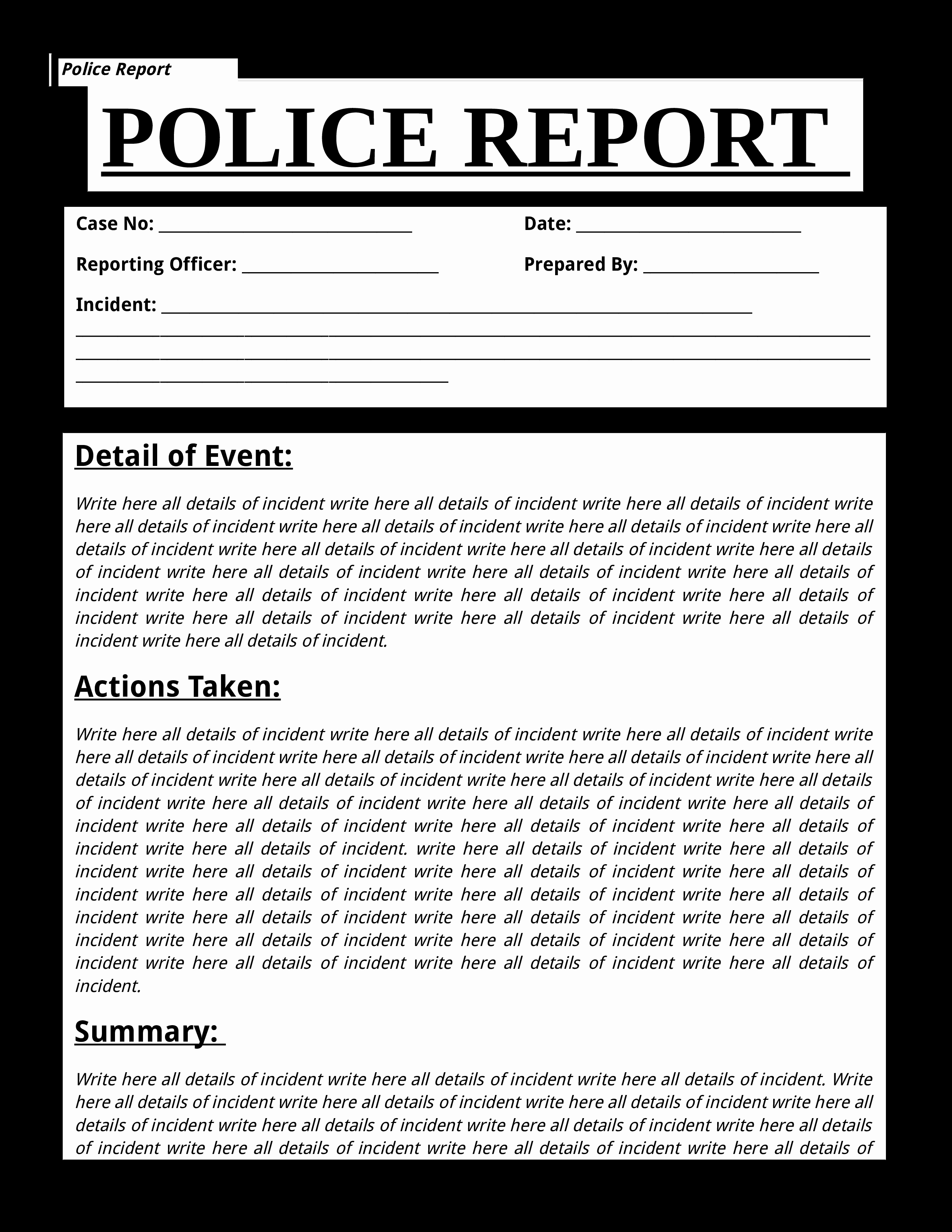 Police Report Template Pdf Elegant Free Police Report Template