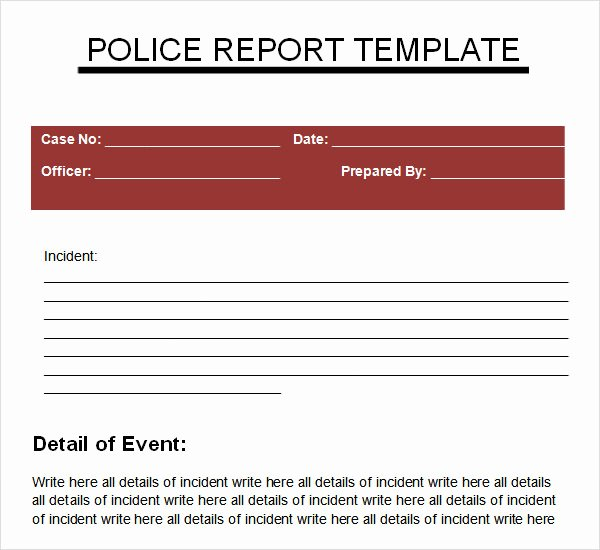 Police Report Template Pdf Elegant Police Report Templates 6 Download Free Documents In