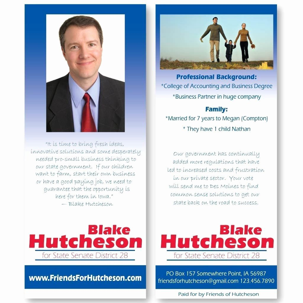 "Political Palm Card Template Best Of 3 5"" X 8 5"" Palm Cards Custom Printed Pamphlets"