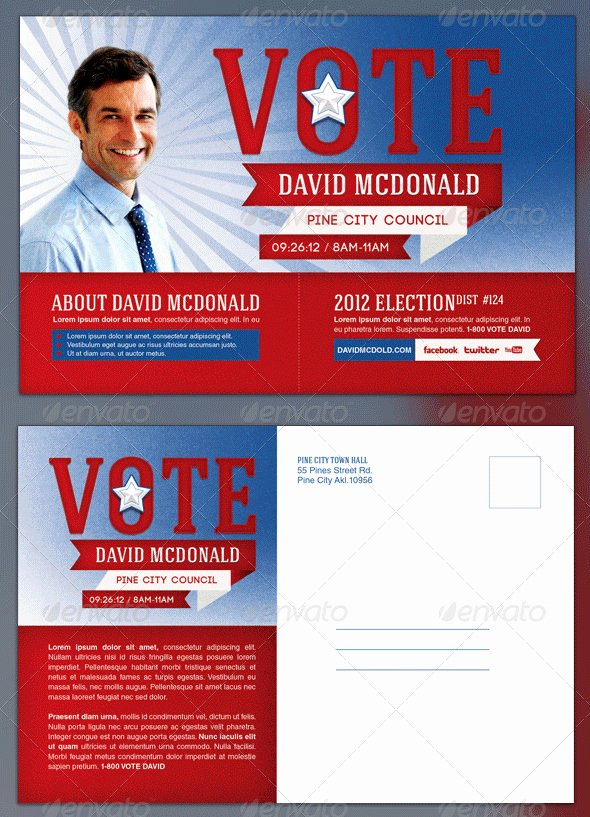 Political Palm Card Template Luxury 14 Political Postcard Templates – Free Sample Example