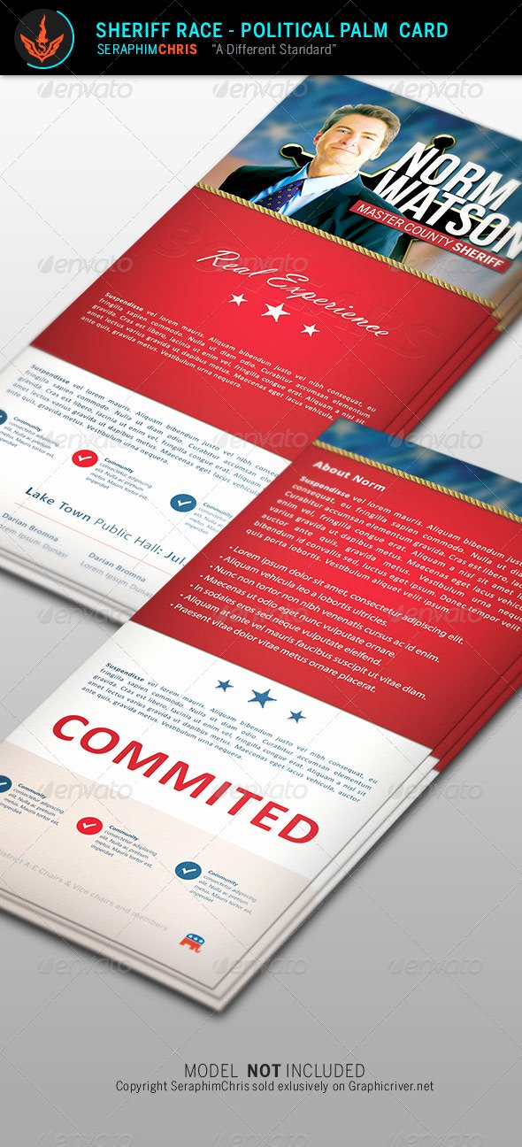 Political Palm Card Template Unique Sheriff Race Political Palm Card Template by