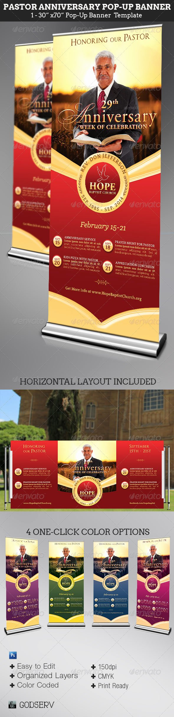 Pop Up Banner Template New Pastor Anniversary Pop Up Banner Template