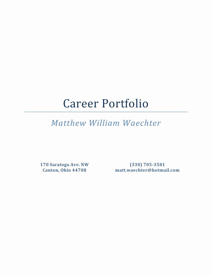 Portfolio Cover Page Template Awesome Career Portfolio