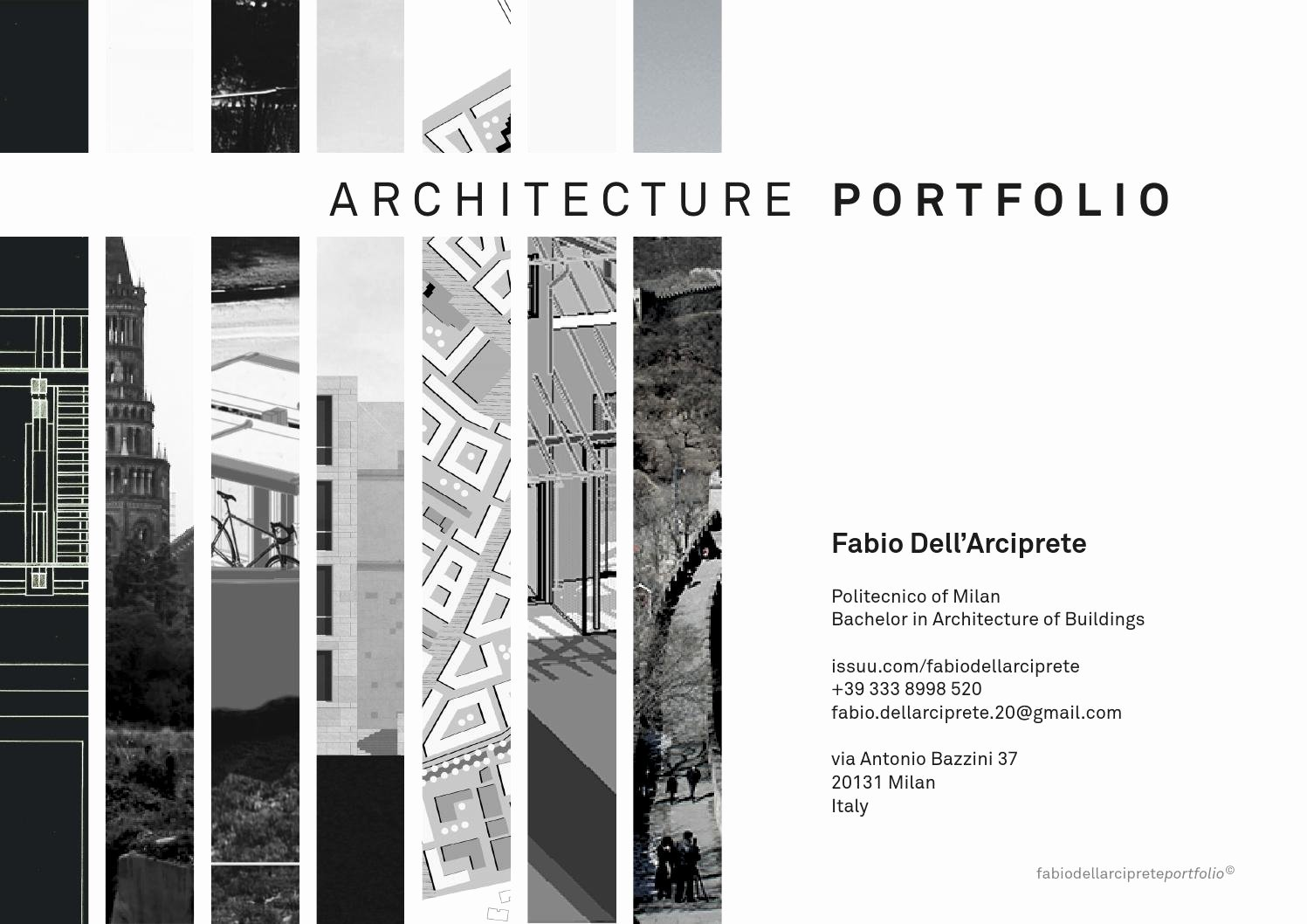 Portfolio Cover Page Template Beautiful Architecture Portfolio by Fabio Dell Arciprete issuu