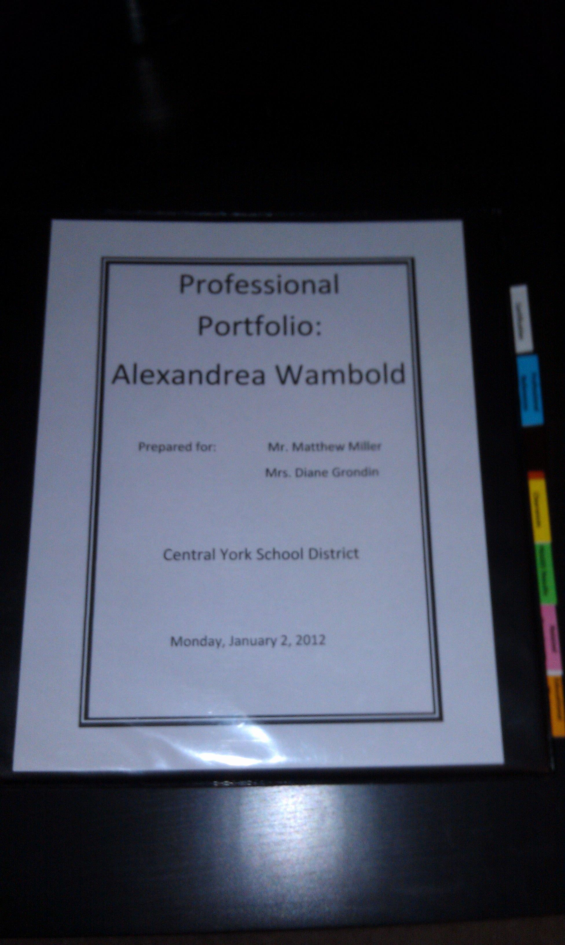 Portfolio Cover Page Template Elegant Teaching Professional Portfolio Cover