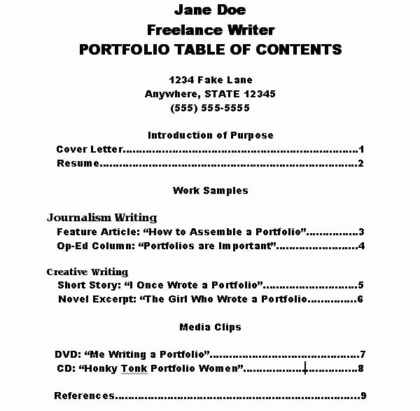 Portfolio Table Of Contents Template Awesome How to Make A Portfolio Table Of Contents