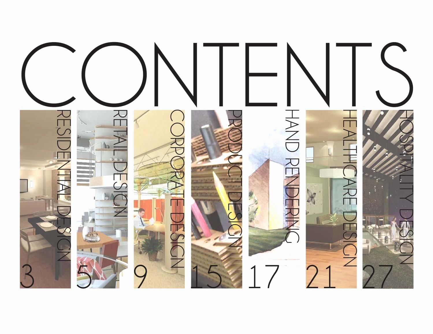 Portfolio Table Of Contents Template Awesome Jennifer Hills Interior Design Portfolio