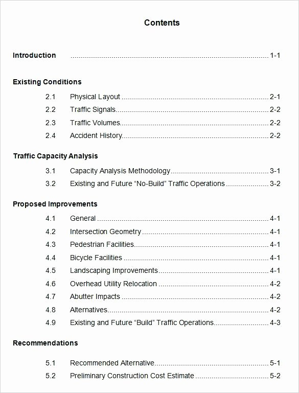 Portfolio Table Of Contents Template Beautiful Table Contents Template 9 Download Free Documents In