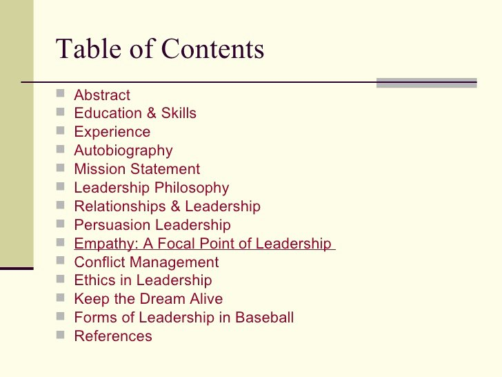 Portfolio Table Of Contents Template Fresh Leadership Portfolio