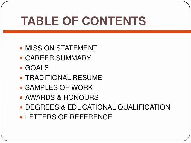 Portfolio Table Of Contents Template Inspirational Simple Career Portfolio
