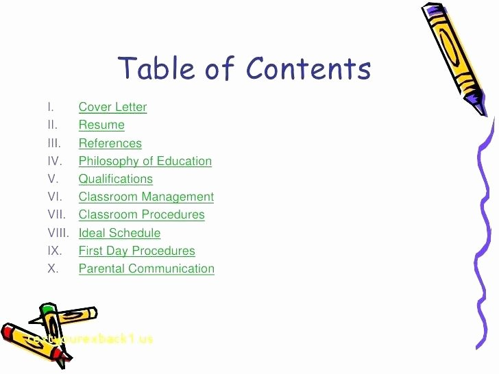 Portfolio Table Of Contents Template Inspirational Teaching Portfolio Template Project for Awesome top Result